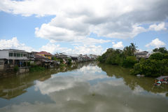 Houses on the coast of the river Chanthaburi river Royalty Free Stock Images