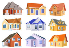 Houses collection. Vector collection of classic houses isolated on a white background Stock Images