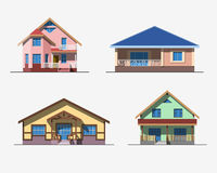 Houses 2 color. Set of various design color  flat style private residential houses isolated on white background. Detailed graphic symbols and elements collection Stock Photo