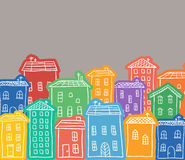 Houses colored doodles Royalty Free Stock Photos