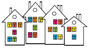 Houses with colored windows Royalty Free Stock Image