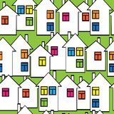 Houses with colored windows seamless pattern Stock Images