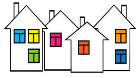 Houses with colored windows on white background Royalty Free Stock Photos