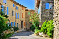Houses with colorful shuttered windows in Provence, France Royalty Free Stock Photography