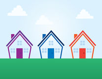 Houses Colors Outline Abstract Stock Photo