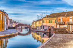 Houses in Comacchio, the little Venice Royalty Free Stock Photo