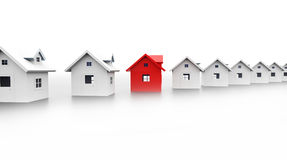 Houses concept one is red Stock Photos