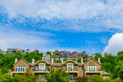 Houses and condos on hill over looking Cincinnati river Stock Photo