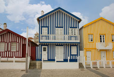 Houses of Costa Nova, Aveiro, Portugal Royalty Free Stock Photography