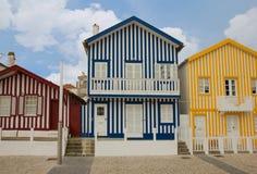 Houses of Costa Nova, Aveiro, Portugal Royalty Free Stock Photography
