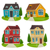 Houses cottage set, vector cartoon illustration, exterior design Stock Photos