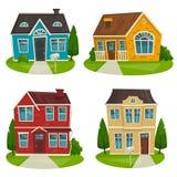 Houses cottage set, vector cartoon illustration, exterior design Stock Photos