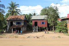 Houses in the countryside of Cambodia Royalty Free Stock Photo