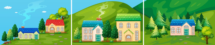 Houses. In the countryside scene Stock Illustration