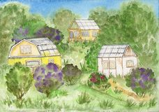 Houses in the countryside. Watercolor landscape. Royalty Free Stock Image