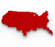 Houses Covering USA Map. A US map covered in red houses, symbolizing overcrowding Stock Images
