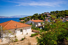 Houses on Croatian seashore Stock Photo