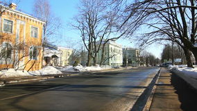 Houses on the crossroad, cars in Pushkin city stock video footage