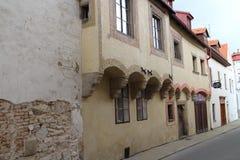 Houses on Dačická street in Slavonice Stock Photos