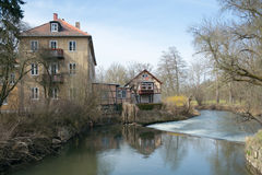 Houses at dam on Ilm river, Weimar Royalty Free Stock Photography