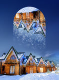 Houses decorated for christmas at night. Geometric reflections e Stock Photos