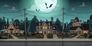Houses Decorated For Halloween Home Buildings Front View With Different Pumpkins, Bats Holiday Celebration Concept. Flat Vector Illustration Stock Photography