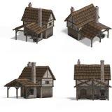 houses den medeltida smedjan stock illustrationer