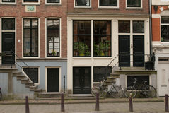 Houses details, Amsterdam. Windows and stairs and doors on Amsterdam street Stock Photography