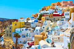 Houses of different colours in Santorini Royalty Free Stock Image