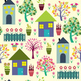 Houses and different plants illustration. Stock Photo