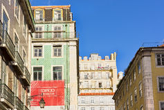Houses in the District of Baixa in Lisbon Royalty Free Stock Photos