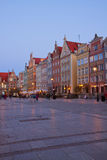 Houses of Dluga street at night, Gdansk Royalty Free Stock Photography