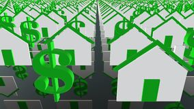 Houses and dollar icons in white and green stock footage