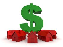 Houses and dollar sign Royalty Free Stock Photos