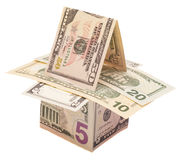 Houses from dollars banknotes Royalty Free Stock Photography