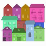 Houses in doodle style. Colorful buildings. stock illustration