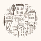 Houses doodles in circle Stock Images