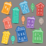 Houses doodles on colored background Royalty Free Stock Images