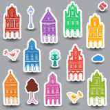 Houses doodles on colored background Royalty Free Stock Image