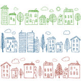 Houses doodles seamless pattern Stock Photo