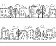 Houses doodles seamless pattern Royalty Free Stock Photography