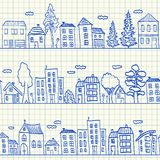 Houses doodles seamless pattern Stock Photography