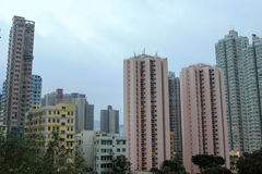 Houses downtown Kowloon with appartments Royalty Free Stock Photos