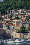 Houses in Dubrovnik. Dubrovnik, Croatia - August 26, 2015. Hills of Dubrovnik seen from Old Town Harbour Stock Image