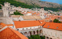 Houses of Dubrovnik old town. Surrounding with the mountains and the sea, Croatia Royalty Free Stock Images