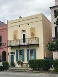 Getting ready for Hurricane Irma. Houses on East Bay St in downtown Charleston are boarded up to protect the glass from strong winds of Hurricane Irma Royalty Free Stock Photos
