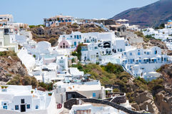 Houses on the edge of the caldera on the island of Santorini, Greece. Royalty Free Stock Image