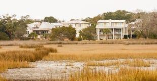 Houses on Edge of Marsh stock photography