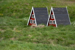 Houses for elves. Two small houses for elves in garden, Iceland stock photo