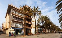 Houses at embankment in Badalona, Spain Royalty Free Stock Photo